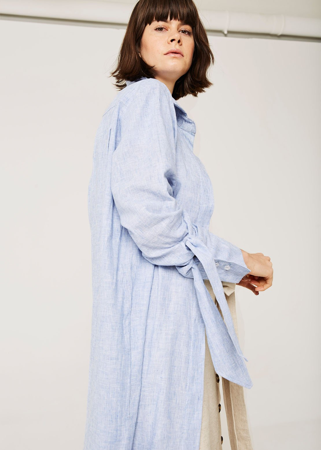 Bow sleeve shirt dress, Merwe Salt
